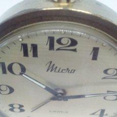 Despertadores antiguos: RELOJ DESPERTADOR MICRO 2 RUBIS METAL FUNCIONANDO 7CM DIAMETRO. Lote 103666511