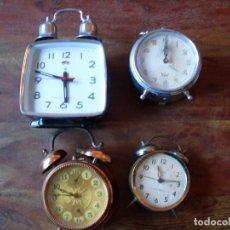 Despertadores antiguos: LOTE DE 4 RELOJES DESPERTADORES - TITAN, CID, WRHRLE, POLARIS - DISTINTOS AÑOS. Lote 103973759
