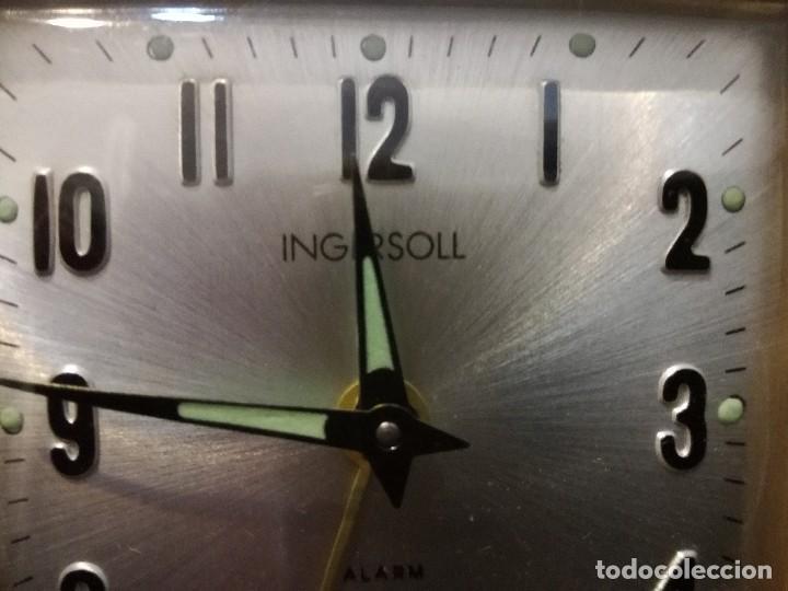 Despertadores antiguos: Antiguo reloj alarma despertador de viaje a cuerda. Ingersoll - Foto 5 - 216643078