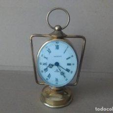 Despertadores antiguos: RELOJ DESPERTADOR BRONCE RADIANT 7 RUBIS. Lote 111423667