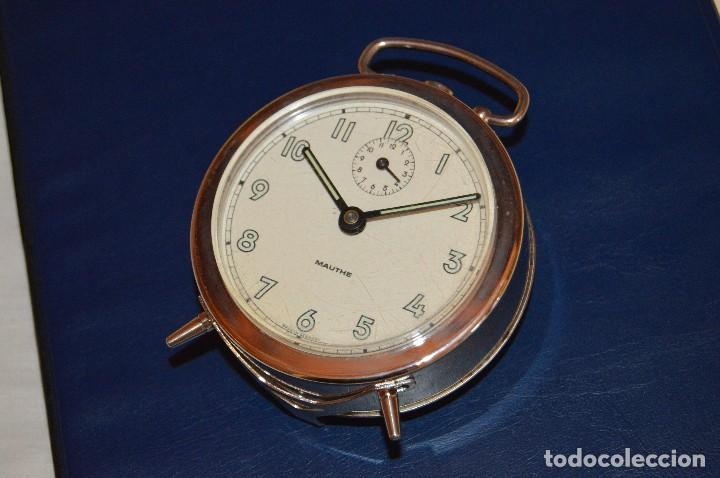 Despertadores antiguos: VINTAGE - ANTIGUO RELOJ DESPERTADOR CROMADO - MAUTHE - MADE IN GERMANY - DE CUERDA - Foto 12 - 119567427