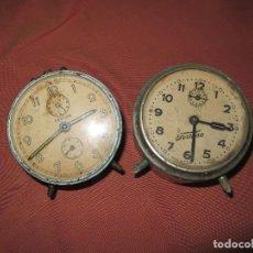 Despertadores antiguos: ANTIGUOS DESPERTADORES PARA REPARAR O PIEZAS, FUNCIONAN A CUERDA.. Lote 120257971