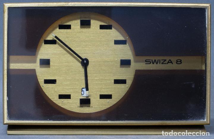 RELOJ DESPERTADOR CON CALENDARIO SWIZA OCHO DÍAS AÑOS 70 FUNCIONANDO (Relojes - Relojes Despertadores)