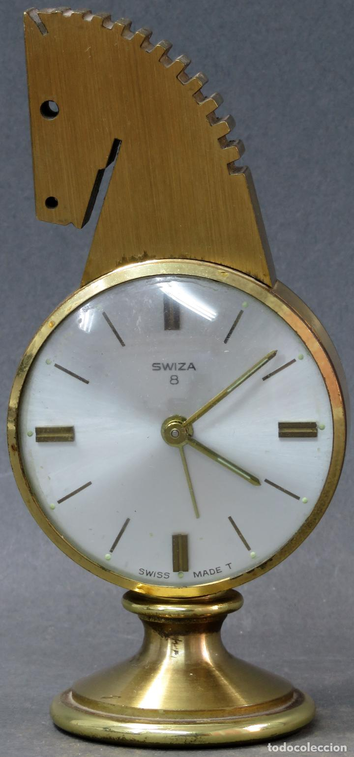 RELOJ DESPERTADOR BRONCE FORMA CABEZA CABALLO SWIZA OCHO DÍAS FUNCIONANDO AÑOS 80 (Relojes - Relojes Despertadores)