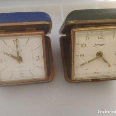 Despertadores antiguos: DOS DESPERTADORES DE VIAJE ANTIGUOS, GERMANY. EUROPA Y JERGER.. Lote 128314611