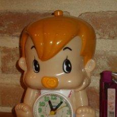 Despertadores antiguos: RELOJ DESPERTADOR INFANTIL BEBE DE LOS PICAPIEDRAS... BAM BAM. Lote 135609762