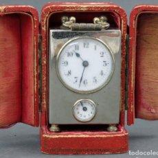 Despertadores antiguos: RELOJ DESPERTADOR DE VIAJE FRANCÉS ELEGANS EN SU ESTUCHE PRINCIPIOS DEL SIGLO XX. Lote 138187126