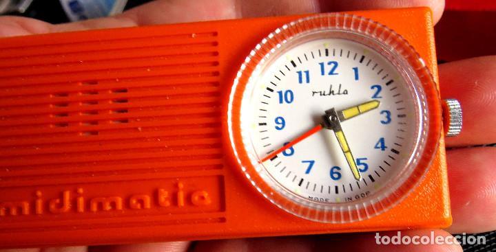 Despertadores antiguos: RELOJ DESPERTADOR DE LA ANTIGUA ALEMANIA DEL ESTE - RULHA MIDIMATIC COMO NUEVO!! - Foto 3 - 139750746