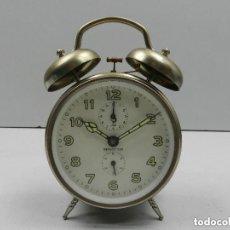 Despertadores antiguos: ANTIGUO RELOJ DESPERTADOR A CUERDA CAMPANAS MUY RARO MARCA JAZ. Lote 140481798