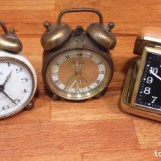 Despertadores antiguos: TRES RELOJES DESPERTADORES. Lote 149559854