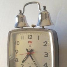 Despertadores antiguos: ANTIGUO RELOJ DESPERTADOR DOBLE CAMPANA. POLARIS. Lote 144452652
