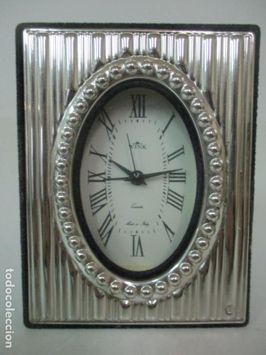 Despertadores antiguos: Reloj Despertador - Marca Wenk - Quartz - Made in Italy - Marco Forrado en Plata - Foto 6 - 145050390