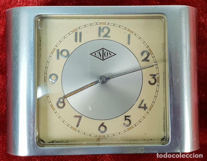 RELOJ DESPERTADOR DE SOBREMESA. MARCA UNION. METAL CROMADO. CIRCA 1960. (Relojes - Relojes Despertadores)