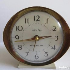 Despertadores antiguos: RELOJ DESPERTADOR ESCOCIA MARCA BABY BEN WESTCLOX METALICO VINTAGE AÑOS 50-60. Lote 148030766