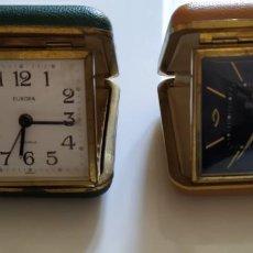 Despertadores antiguos: 2 RELOJES DE VIAJE CON TAPA. Lote 148413486