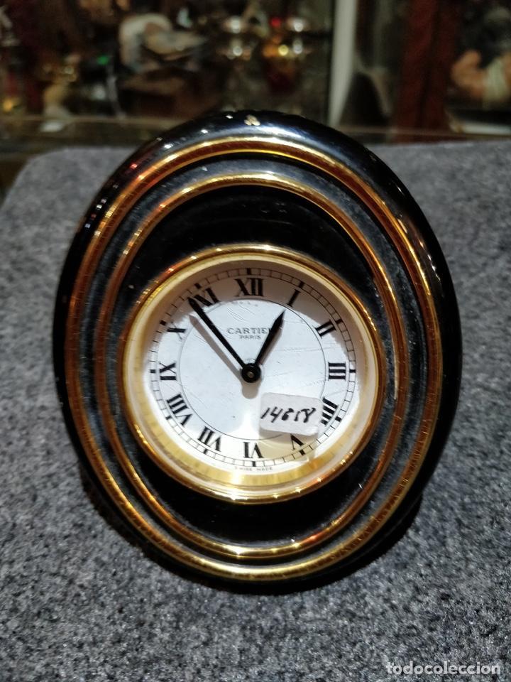 RELOJ DESPERTADOR CARTIER PARIS, SWISS MADE, 10X8.5CM, FUNCIONANDO. (Relojes - Relojes Despertadores)