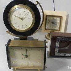Despertadores antiguos: LOTE DE 4 RELOJES DESPERTADORES ANTIGUOS.. Lote 151453198