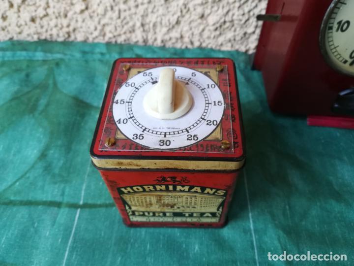 Despertadores antiguos: Reloj temporizador en caja de té - Foto 4 - 152395362