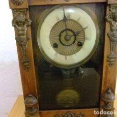 Despertadores antiguos: RELOJ DESPERTADOR DE MADERA MUY ANTIGUO. Lote 155796894