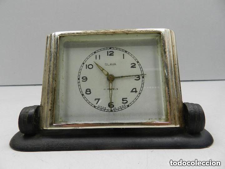 ANTIGUO RELOJ DESPERTADOR A CUERDA MARCA SLAVA AÑOS 60-70- VINTAGE (Relojes - Relojes Despertadores)