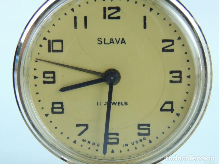 Despertadores antiguos: Antiguo Reloj Despertador a Cuerda Marca Slava Años 60-70 Era Comunista - Foto 6 - 156557114