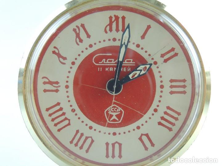 Despertadores antiguos: Antiguo Reloj Despertador a Cuerda Marca Slava Años 60-70 Era Comunista - Foto 3 - 156557146