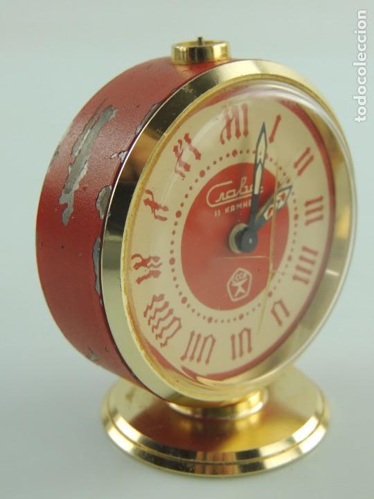 Despertadores antiguos: Antiguo Reloj Despertador a Cuerda Marca Slava Años 60-70 Era Comunista - Foto 9 - 156557146