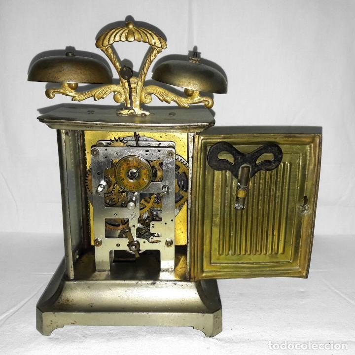 Despertadores antiguos: RELOJ DESPERTADOR CARRUAJE ALEMÁN. EN MARCHA CON SU LLAVE ORIGINAL. HACIA 1900. - Foto 7 - 165224650