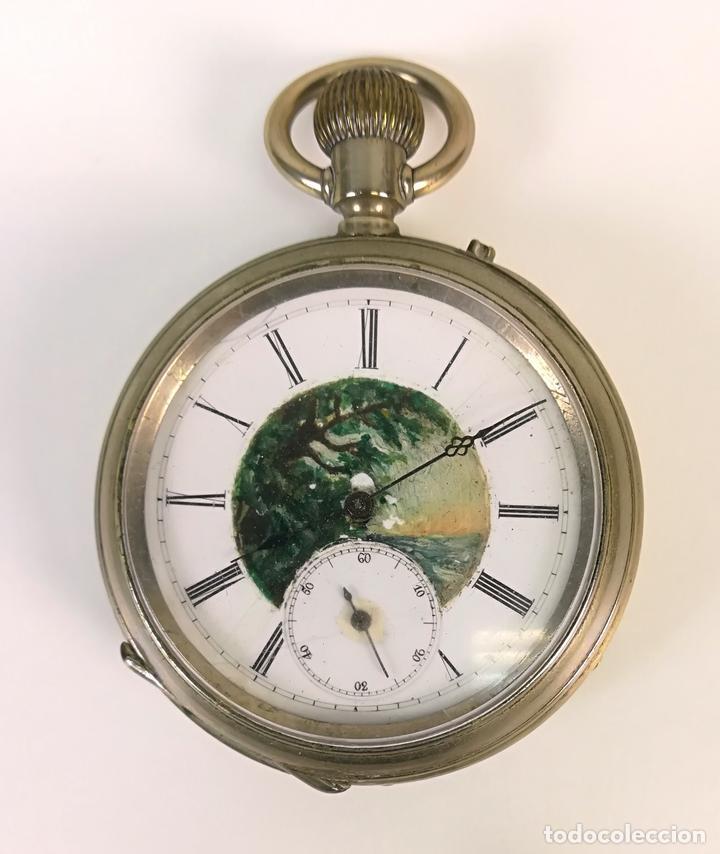 RELOJ DE BOLSILLO. ESFERA PINTADA A MANO. SIGLO XX. SUIZA (Relojes - Relojes Despertadores)