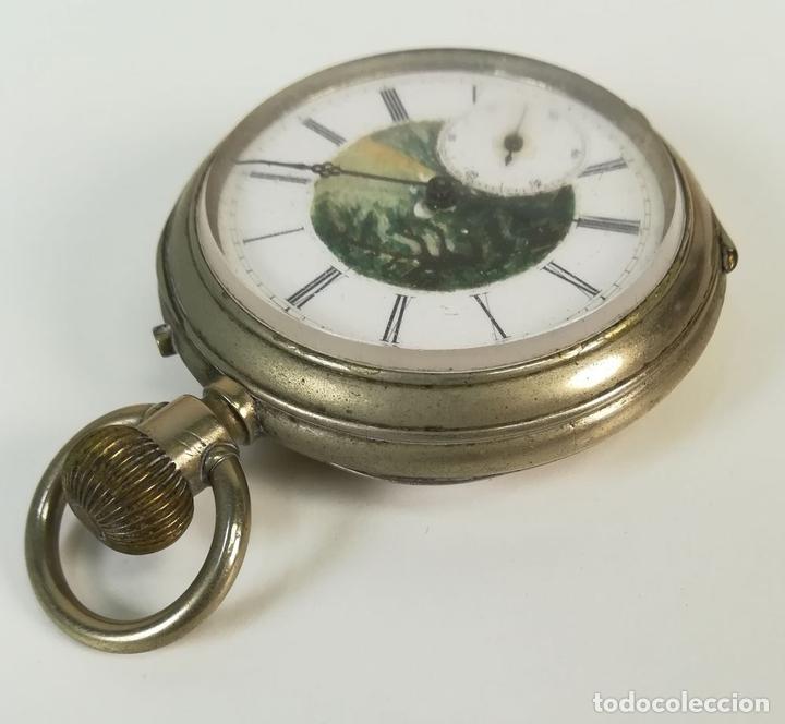 Despertadores antiguos: RELOJ DE BOLSILLO. ESFERA PINTADA A MANO. SIGLO XX. SUIZA - Foto 3 - 169647024