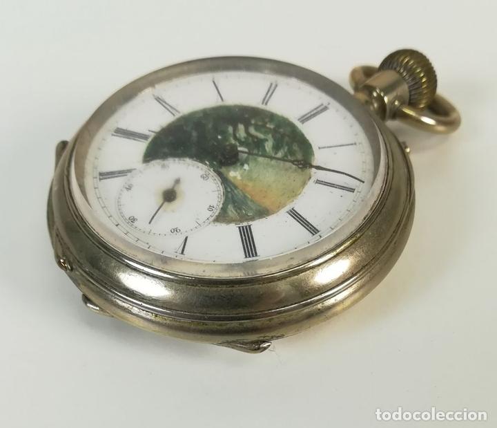 Despertadores antiguos: RELOJ DE BOLSILLO. ESFERA PINTADA A MANO. SIGLO XX. SUIZA - Foto 4 - 169647024