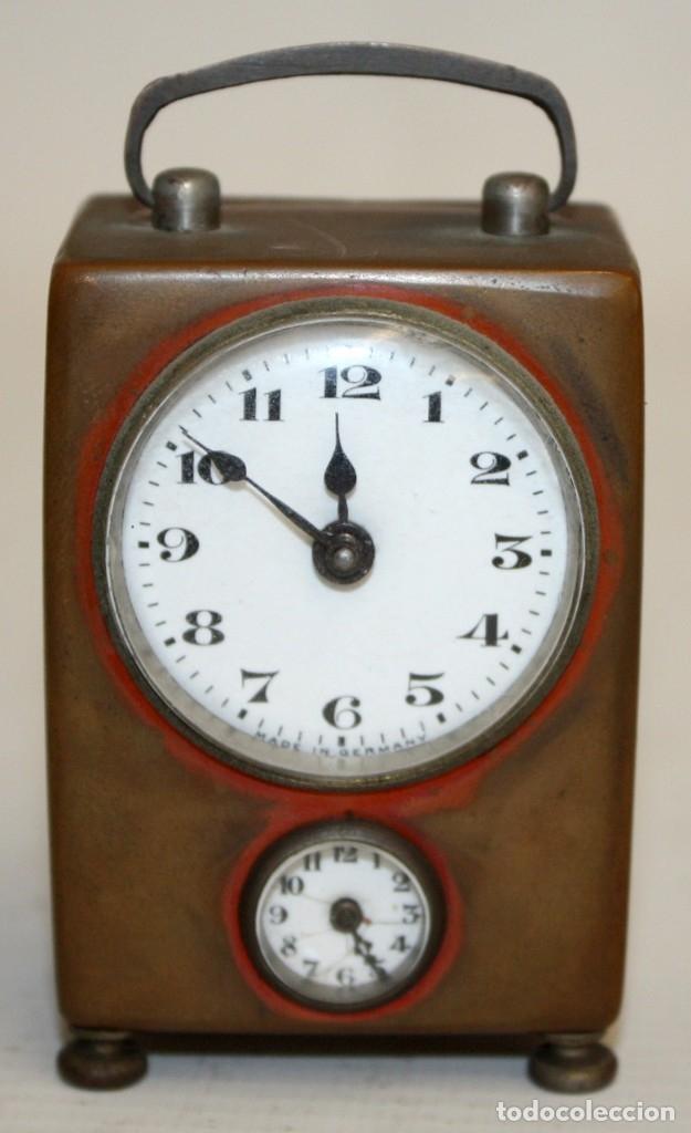 RELOJ DESPERTADOR DE VIAJE DE MANUFACTURA ALEMANA. APROXIMADAMENTE 1900 (Relojes - Relojes Despertadores)