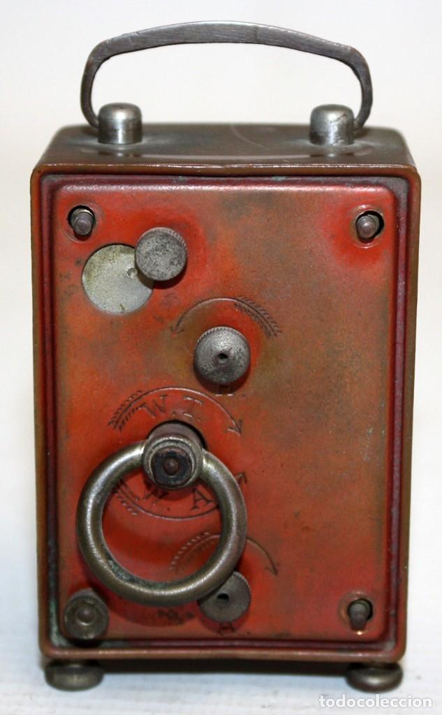 Despertadores antiguos: RELOJ DESPERTADOR DE VIAJE DE MANUFACTURA ALEMANA. APROXIMADAMENTE 1900 - Foto 3 - 172671442