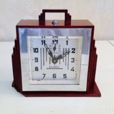 Despertadores antiguos: RELOJ DESPERTADOR FRANCES DE BAQUELITA ART DECO BLANGY 1930S ART DECO FRANCE CLOCK. Lote 175473310