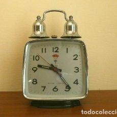 Despertadores antiguos: RELOJ CLASICO DESPERTADOR A CUERDA CON DOS CAMPANAS - MARCA POLARIS 17 CM ALTO. Lote 181527661