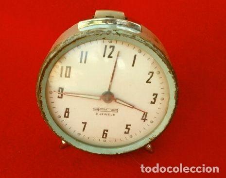 Despertadores antiguos: RELOJ CLASICO DESPERTADOR A CUERDA - MARCA GANG 2 JEWELS - SPAIN - Foto 5 - 181528302
