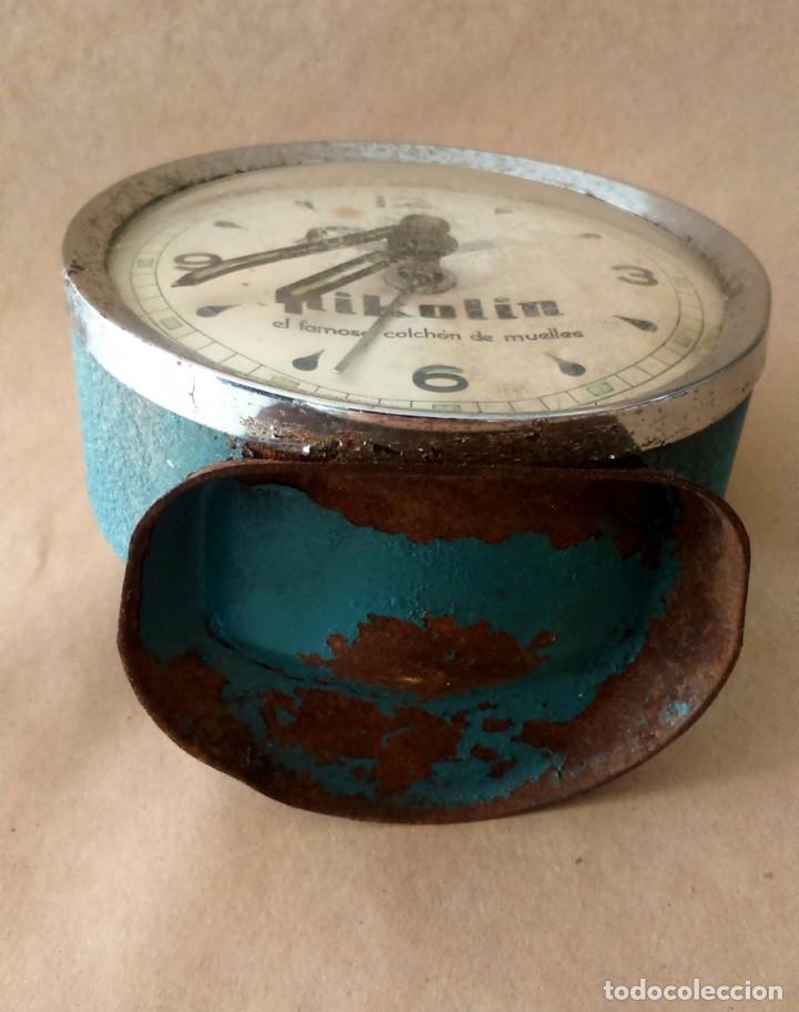 Despertadores antiguos: Antiguo reloj despertador publicitario Pikolin, el famoso colchón de muelles. 50-60s Para restaurar. - Foto 5 - 182077673