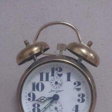 Despertadores antiguos: RELOJ DESPERTADOR JERGER. MADE IN GERMANI( FUNCIONA PERFECTAMENTE) 17X11CTMS . Lote 184145442