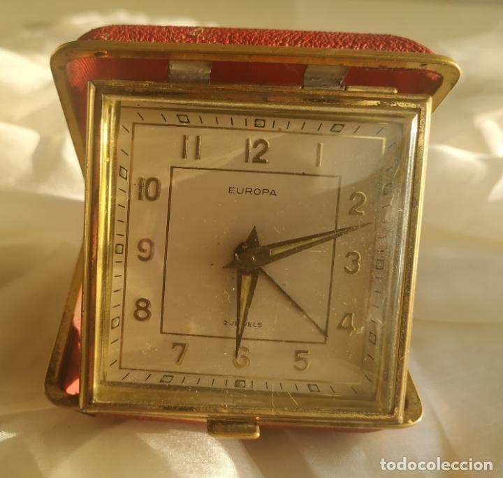 Despertadores antiguos: Reloj despertador de viaje Europa. Carga manual. Funciona - Foto 6 - 189700106