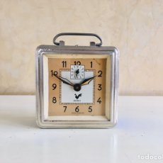 Despertadores antiguos: RELOJ DESPERTADOR MID CENTURY BLANGY MADE IN FRANCE CUADRADO DE METAL. Lote 189789593