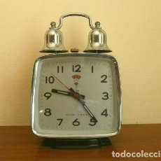 Despertadores antiguos: RELOJ CLASICO DESPERTADOR A CUERDA CON DOS CAMPANAS - MARCA POLARIS 17 CM ALTO. Lote 190833180