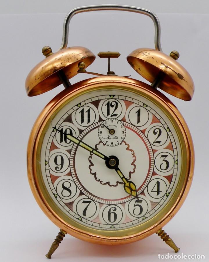 Despertadores antiguos: RELOJ DESPERTADOR MAUTHE DOBLE CAMPANA GRANDE - Foto 2 - 190842826
