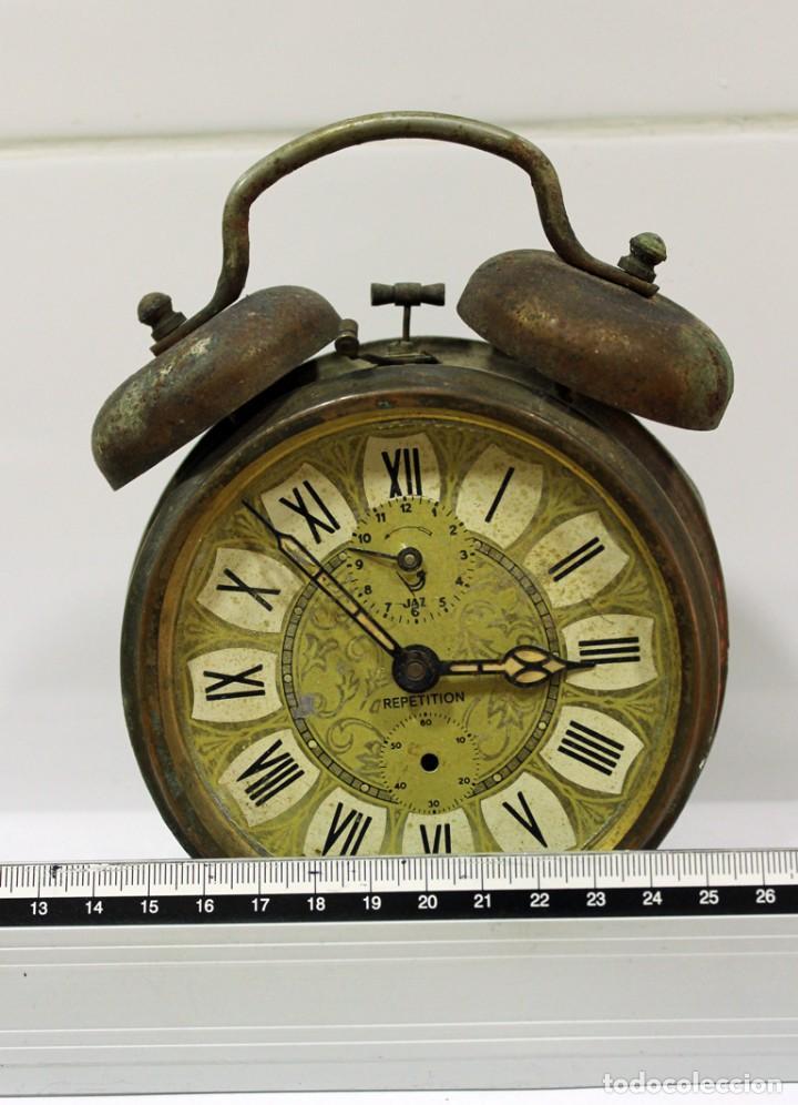 Despertadores antiguos: Reloj despertador JAZ REPETICIÓN. FUNCIONANDO PERFECTAMENTE. - Foto 7 - 194488581
