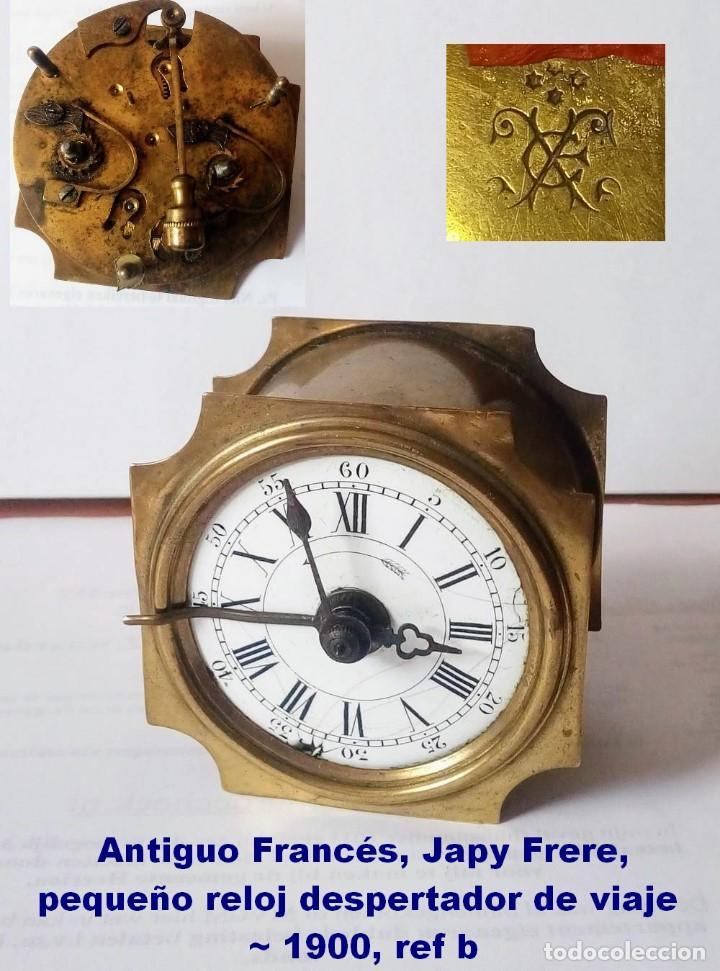 ANTIGUO FRANCÉS, JAPY FRERE, PEQUEÑO RELOJ DESPERTADOR DE VIAJE ~ 1900, REF B (Relojes - Relojes Despertadores)