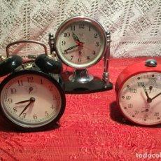 Despertadores antiguos: ANTIGUOS 3 DESPERTADOR / DESPERTADORES DE CAMPANA METALICOS AÑOS 60-70. Lote 199324013