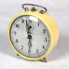 Despertadores antiguos: ANTIGUO RELOJ DESPERTADOR DE SOBREMESA MARCA ALBA. Lote 199582517