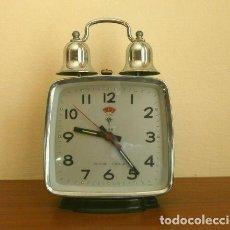 Despertadores antiguos: RELOJ CLASICO DESPERTADOR A CUERDA CON DOS CAMPANAS - MARCA POLARIS 17 CM ALTO. Lote 201101688