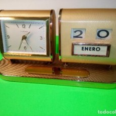 Despertadores antiguos: RELOJ DESPERTADOR - CALENDARIO. FUNCIONANDO. INMEJORABLE. DESCRIPCION Y FOTOS.. Lote 202624515