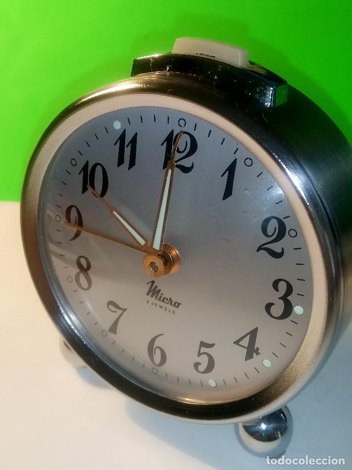 Despertadores antiguos: RELOJ DESPERTADOR MICRO. FUNCIONANDO. AÑOS 60. TODO METAL. DESCRIPCION Y FOTOS. - Foto 9 - 204380881