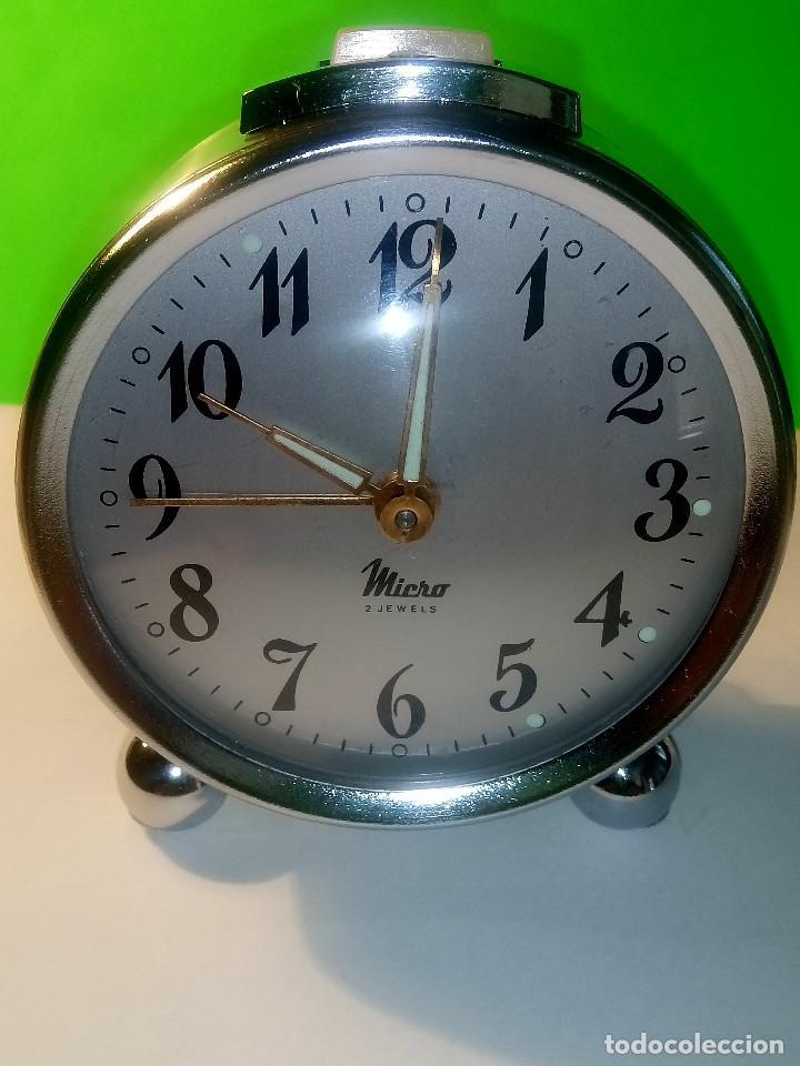 Despertadores antiguos: RELOJ DESPERTADOR MICRO. FUNCIONANDO. AÑOS 60. TODO METAL. DESCRIPCION Y FOTOS. - Foto 10 - 204380881